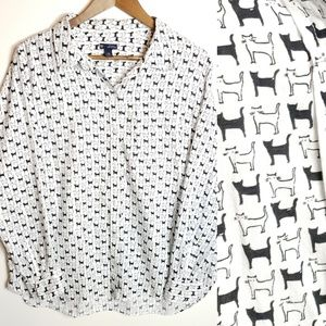 Gap Cat Black and White Button Down Top